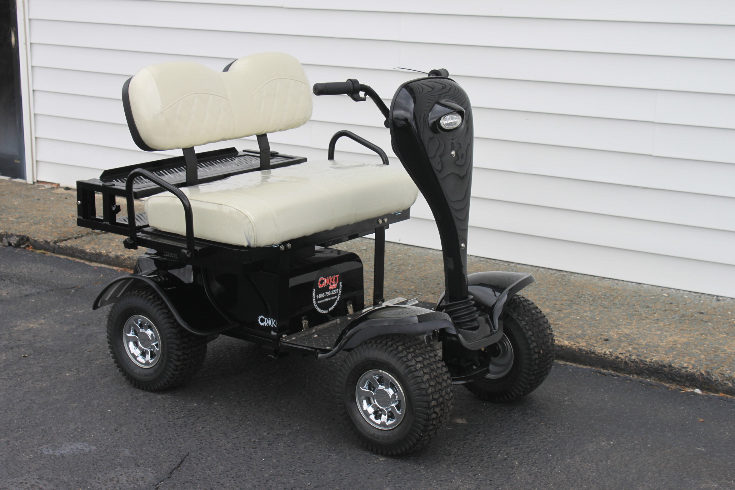 STOCK# BLK-ESV-WHT,   2019 CRICKET ESV MINI 24 VT GOLF CART